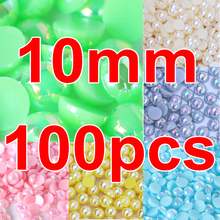 Promotion ! 100pcs 10mm AB Colors Flatback Pearl Beads Multicolors ABS Resin Half Round Pearls For Nail Art Y3609