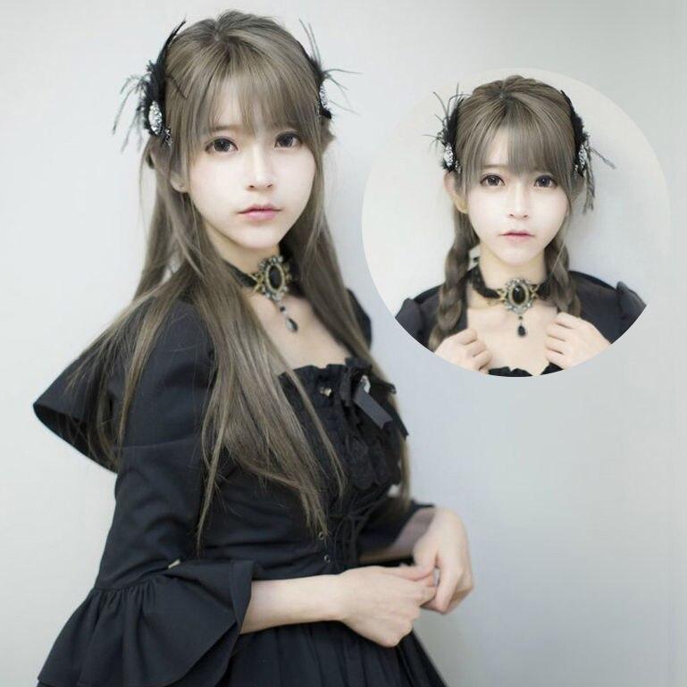 Mcoser Fashion Harajuku yurisa Cosplay Dark Gray Mixed 70cm Long Straight Synthetic Lolita Wig Free Shipping<br><br>Aliexpress