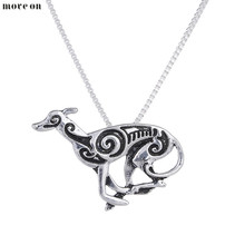 10Pcs Statement Bijoux Running Greyhound Necklace Hound Galgo Dog Pendant Fashion Long Necklace Charm Choker Halloween Gift(China)