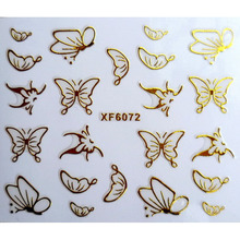 DIY gold butterfly design Water Transfer Nails Art Sticker decals lady women manicure tools Nail Wraps Decals(China)