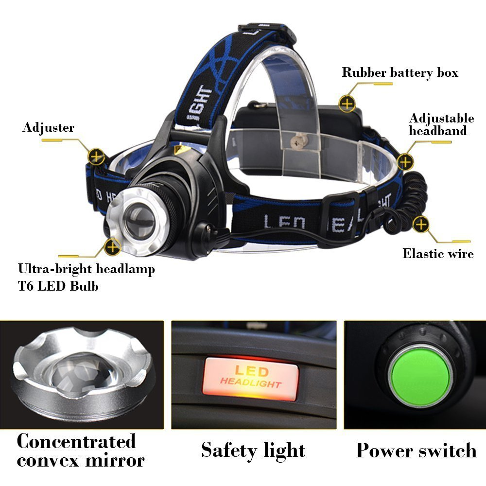 5000 lumens led headlamp cree xml t6 xm-l2 Headlights Lantern 3 mode waterproof torch head 18650 Rechargeable Battery Newest FA