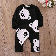 Cute Infant Bear Romper Fashion Baby Boy Winter Jumpsuit Baby Girl Cartoon Print Clothes Toddler Black Outfits