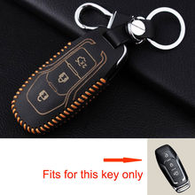 Fit For Ford Mondeo Mustang Fusion Car Leather Smart Remote Key Case Bag Key Chain Cover Shell Holder Protector Fob 3 Button(China)