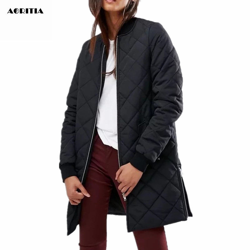2017 Women winter Long Coat V-neck Bomber Coat Pilot Jacket Casacos Feminino Thick Warm JacketÎäåæäà è àêñåññóàðû<br><br>