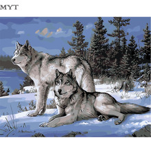 Two Wolfes In Snow DIY Digital Canvas Oil Painting By Numbers Pictures Coloring By Numbers Modern Acrylic Paint By Number Cheap