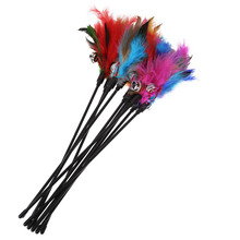 5pcs/lot Cat Toys Kitten Pet Teaser Turkey Feather Interactive Stick Toy Wire Chaser Wand Toy Random Color(China)