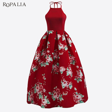 Buy ROPALIA 2018 Summer Bohemian Printed Maxi Dress Sleeveless Halter Floral Printing Long Dresses Party Elegant Sexy Vestidos Red