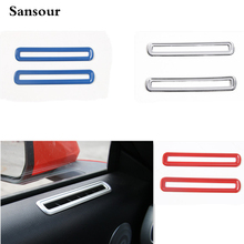 Sansour ABS Interior Side Door AC Vent Decoration Cover Circle Red/Blue/Silver Color Fit For Mustang 2015 2016 Car-Styling