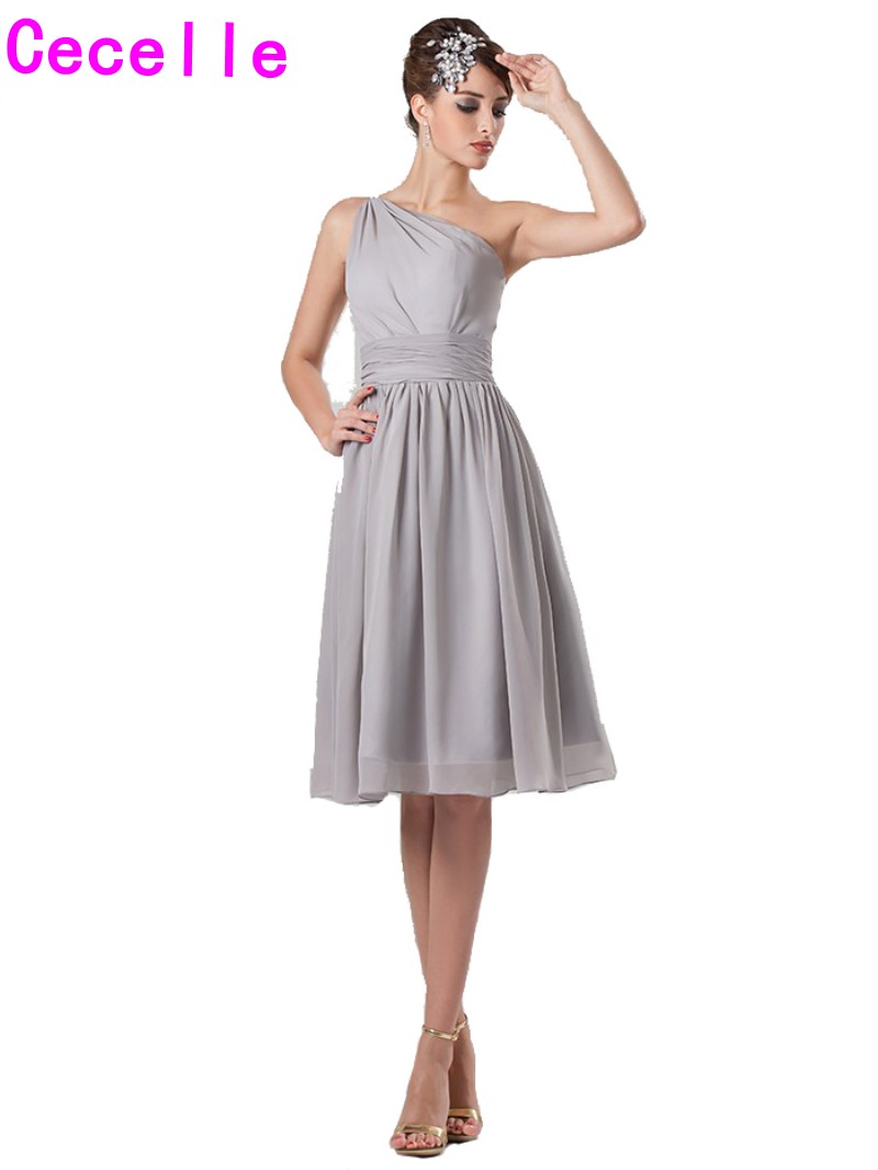 Online buy wholesale short silver bridesmaid dresses from china silver short beach bridesmaids dresses one shoulder a line knee length simple cute informal summer ombrellifo Gallery