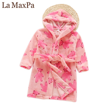Buy La MaxPa Winter Brand Children Bathrobe Thickened Long Pajamas Flannel Hooded Cartoon Kids Nightgown Cute Boys Girls Home Robe for $13.19 in AliExpress store