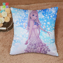 Anime AnoHana ED HD AMV square Pillow case soft Satin weave Pillowcase One-sided Double-Faced Printing Pillow cover Pillowcase