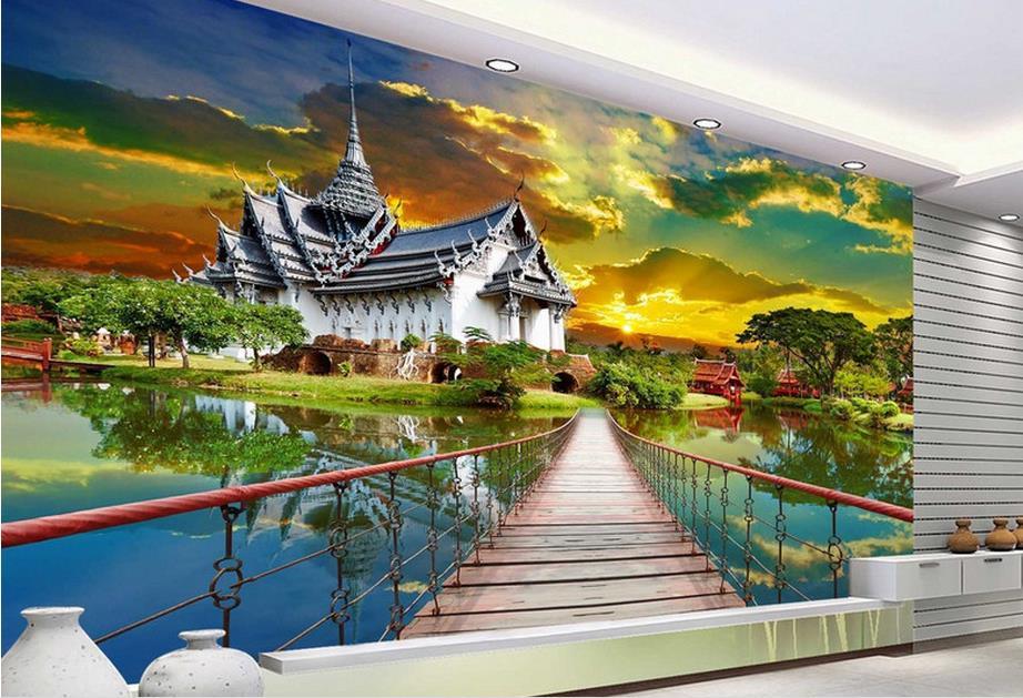 customize luxury wallpaper Alien customs long bridge 3d wall murals wallpaper home decor living room wallpaper modern<br>