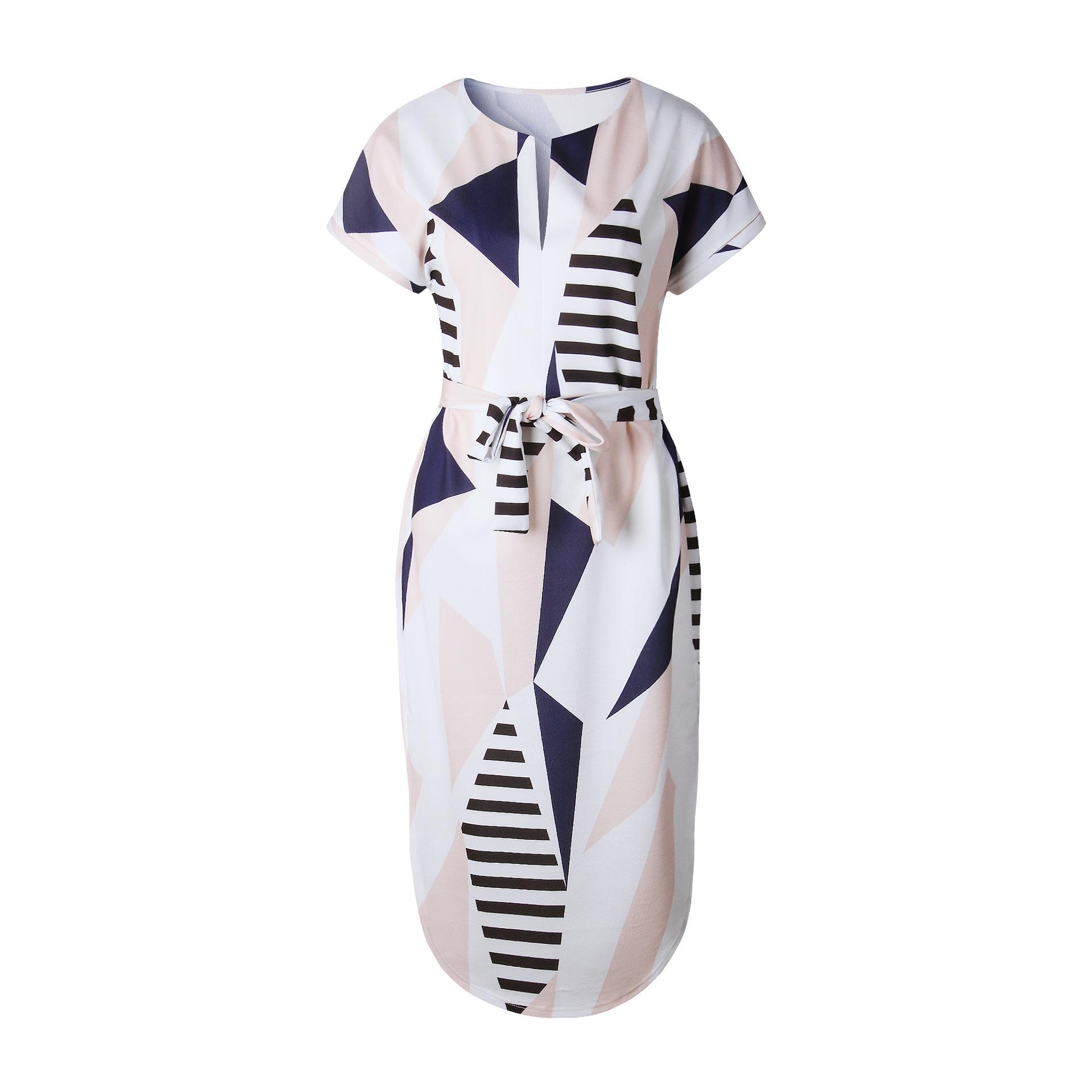 2018 Summer Dress Women Print V Neck Short Sleeve Robe Female Dresses Casual Sashes Midi Dress Ladies Elegant Vestidos Dropship 8