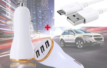 Travel 2A 1A 3 USB Port Car Lighter Cell Phone Charger +USB Data Cable For Samsung Galaxy S7 active,Galaxy J3 Pro