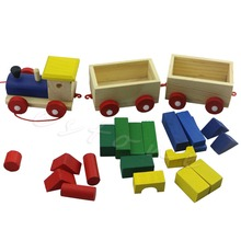 Fun Wooden Kids Baby Developmental Toys Toddler Train Truck Set Geometric Blocks Educational Playthings Boys Girls Gifts(China)