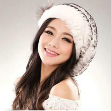 Brand winter lady fashion real rex rabbit fur hat women soft Elasticity 100% genuine fur cap(China)