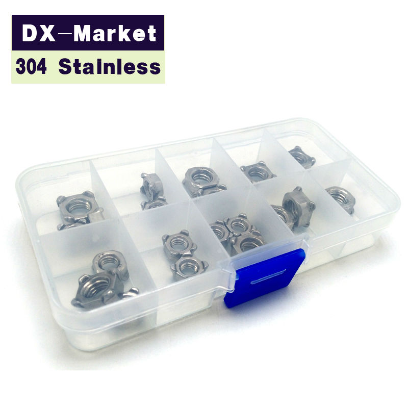 m3 - m12 , 70pcs ,  each 10pcs for 7 size kit , 304 stainless steel Square weld nuts ,  high quality antirust fasteners<br>