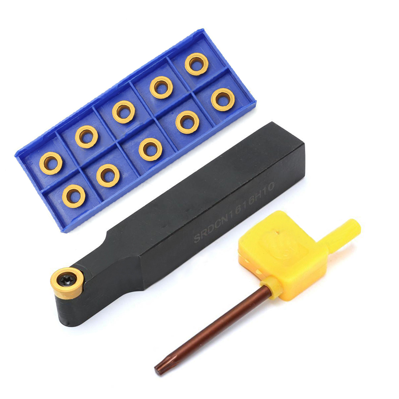 Mayitr 10pcs RCMX1003M0 YBC251 Inserts + SRDCN1616H10 Tool Holder with Wrench For CNC Lathe Tools<br>