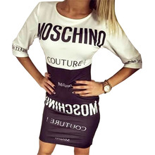 Women Casual Bodycon Dress 2016 Fashion Half Sleeve Black White Letter Printed Bandage Dress Sexy Mini Short Party Dresses T2342