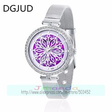 100pcs/lot 525 new designer silver mesh strap lady crystal watch color flower dial quartz watch for women wholesale luxury clock