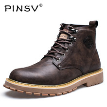 PINSV Winter Shoes Men Snow Boots Ankle Leather Fur Boots Men Shoes Warm Plush Work Boots For Men Bota Masculina Size 38-44(China)