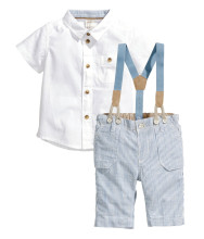 small shell 2016 Summer style Children baby boys clothing sets kids clothes cotton shirt+jeans+straps 3 pcs Q0001