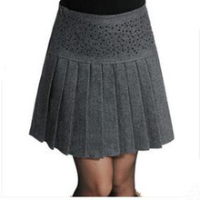 Women Autumn Winter Woolen Skirts Female High Waist Black grey Color Casual Skirt Vintage Fashion Solid Pleated Skirts Womens