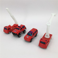 4pcs / lot Die cast Metal + ABS Car Toy Scale Fire Truck model Toys for children Kids Brinquedos