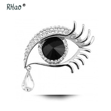 RHao Women Scarf Clips brooches jewelry Silver-color Big Eye tears Crystal brooches for women wedding party clothes brooch pins(China)