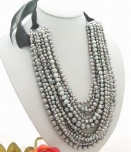 Excellent! 15Strands Grey Pearl Necklace