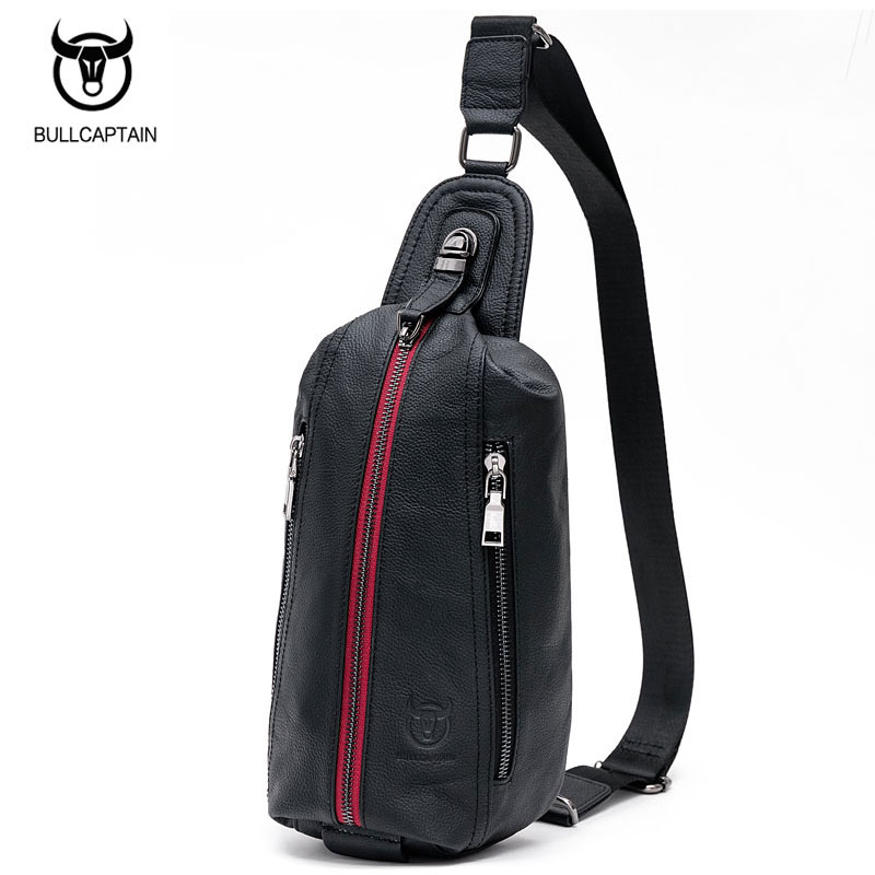BULL CAPTAIN Mens Famous Brand Travel Shoulder Bags Cow Leather Crossbody Bag Male Casual Messenger Bag Red Zipper Chest  Bags <br>