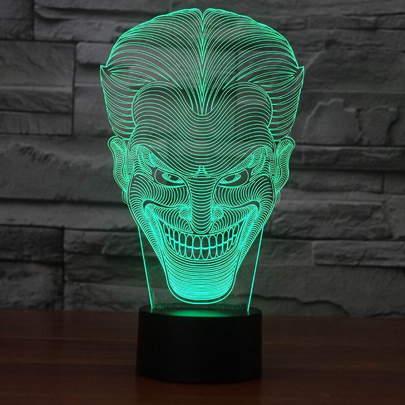Amazing 3D Illusion led Table  Lamp Night Light with joker shape   FS-2832<br><br>Aliexpress