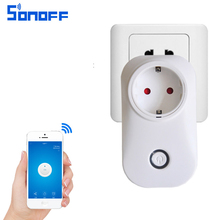 sonoff s20 wifi socket eu/US plug remote control Adapter wireless smart Home Automation power switch wall plug(China)