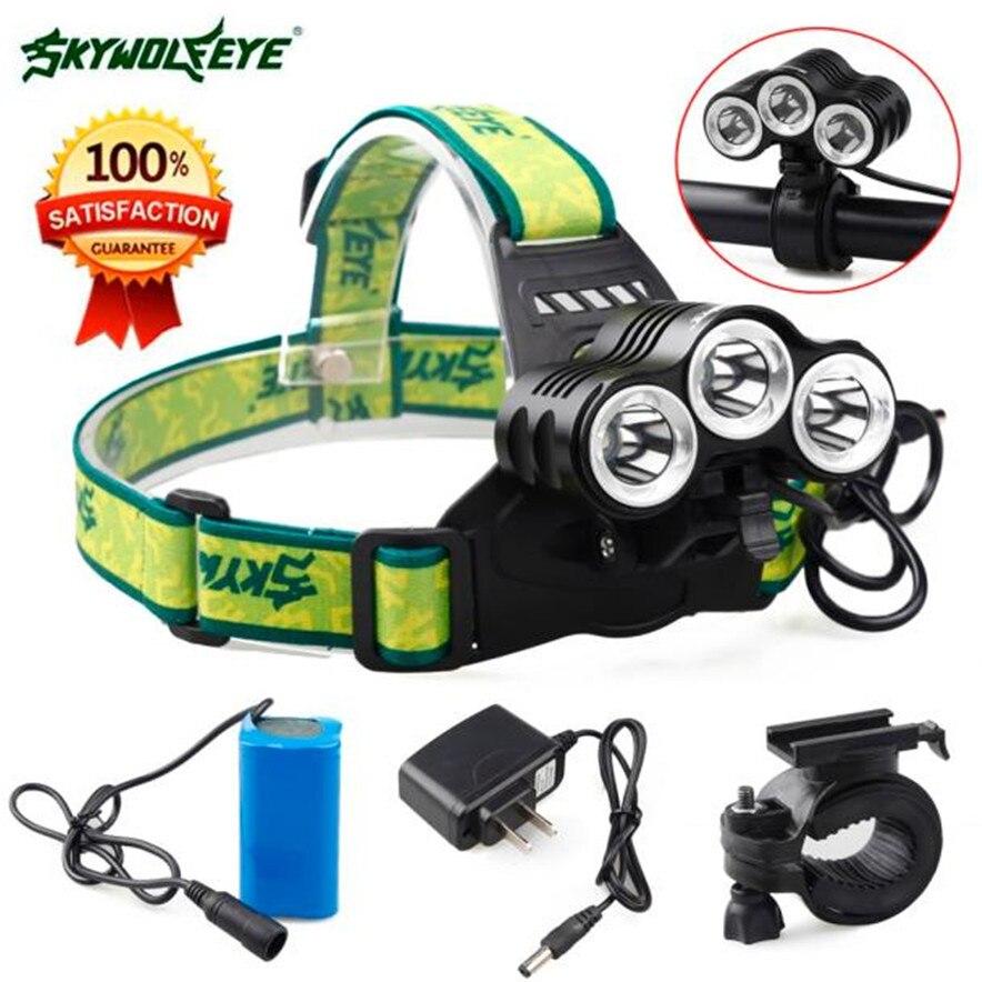 skywolfeye Rehargeable 12000 Lm 3 x CREE XML T6 LED Bicycle Head Light 18650 Headlamp Torch l7117 fishing<br>