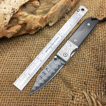 Newest Carbon Fiber Handle Damascus Folding Knives Utility Survival Knife Outdoor Pocket Knife Camping Rescue Tools Multi Tool