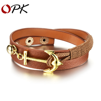 OPK Anchor Design Mem Women Wrap Bracelets New Fashion Stainless Steel Classical Anchor Leather Bracelet Men Jewelry PH1069