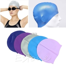 Adult Sports Silicone Swim Cap Flexible Durable Elasticity Swimming Hat Unisex S26(China)