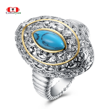 Allencoco Men Rings Classic Turquoise Texture Water Drop Carve Feast Finger Rings Jewelry for Women and Men Full Sizes