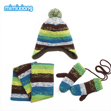Children Winter Hat Scarf Mittens Set Coloful Stripes Knit Baby Kids Beanie Cpas Neck Warmers Gloves Suits For Boys Girls Thick(China)