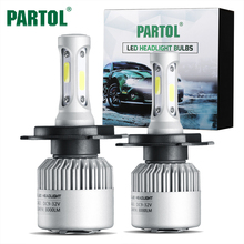 Partol S2 H4 COB LED Headlight 72W 8000LM Hi-Lo Beam Car LED 9004/9007/H13 Headlights Bulb Automobile Headlamp Fog Light 12V 24V(China)