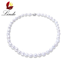 2017 New Arrival 100% Natural Freshwater Pearl Women Baroque Necklace Elegant 925 Sterling Silver White Pearl Strand Jewelry(China)