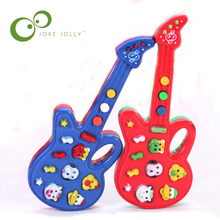 1 Pc Electronic Guitar Toy Cartoon button Nursery Rhyme Music Children Toy Birthday Gift Two Color Can Choose WYQ