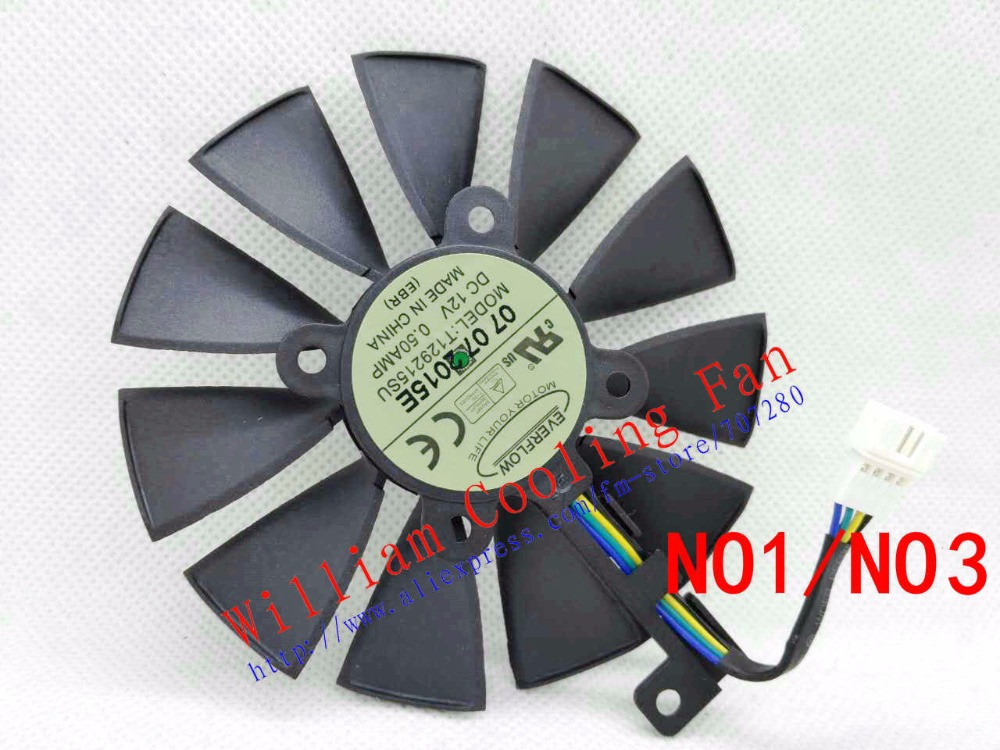 Original for ASUS Raptor GTX980Ti graphics card cooler fan T129215SU 12V 0.50A FONSONING<br>