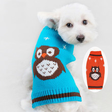 Dog Clothes Blue Autumn Pet Funny Clothing Orange Acrylic knitted Owl's Small Dog Teddy Sweaters Coat XS/S/M Three Size Coats(China)