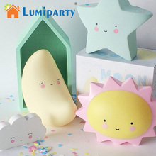 Lumiparty Creative LED Night Light for Kid's Room Decorations Cute Star Lamp Moon Sun Letter Lighting for Birthday Toy Gift