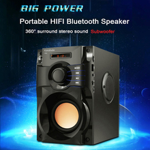 Grande Potência Speaker Sem Fio Bluetooth Estéreo Subwoofer Baixo Pesado de Madeira Speakers Music Player Suporte Display LED Rádio FM TF(China)