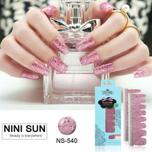 Designs Nail Patch Shining Sequin Nail Polish Strips Friendly Foil Glitter Elegant Nail Desgign Sticker On Nails With File Tool