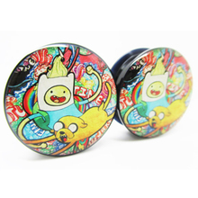 1 pair adventure time plugs black acrylic screw fit flesh tunnel ear plug gauges ear expander body jewelry