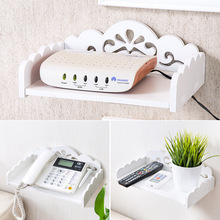 1pc Creative TV Set-top Storage Rack Bedroom Clapboard Wall Shelf Bracket Shelf Organizer Remote Control Holder