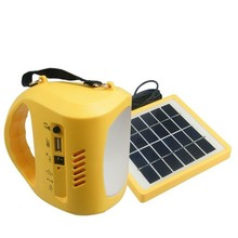 Newest LED Solar Flashlight  camp Light  with fm radio and phone charger free shipping